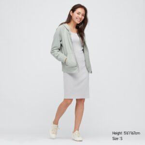 robe midi côtelé gris
