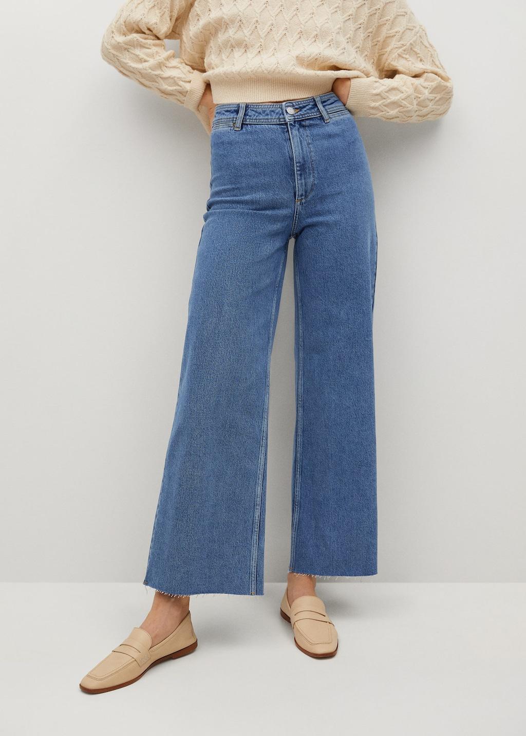 Jupe-culotte jean taille haute Mango
