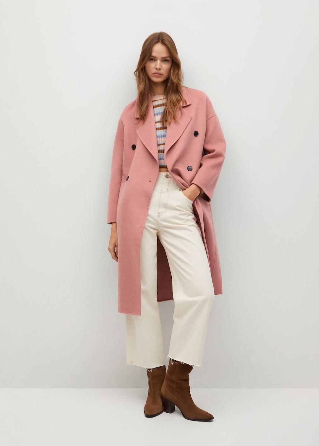 Manteau laine fait main rose Mango