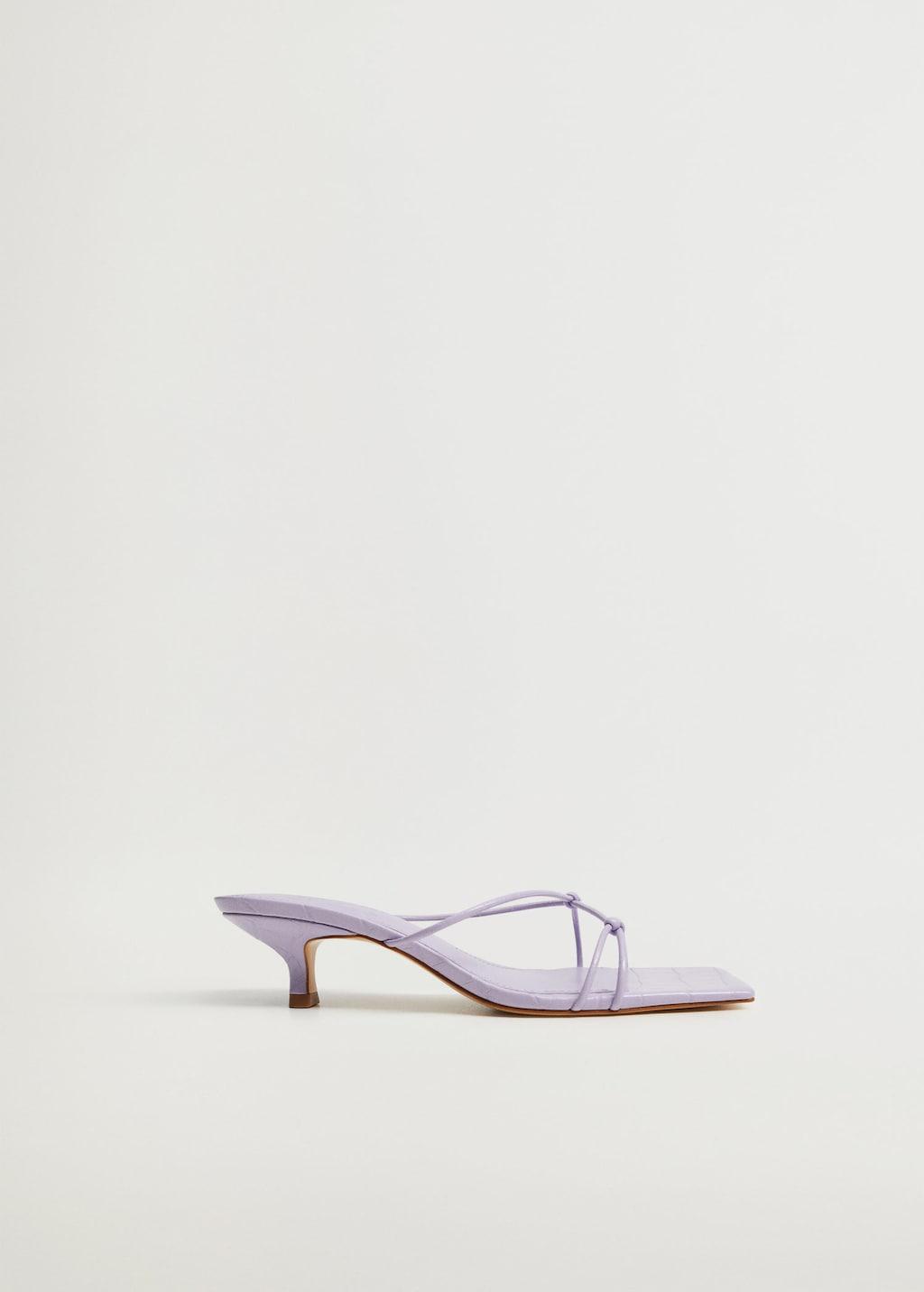 sandales talon nœuds lilas Mango