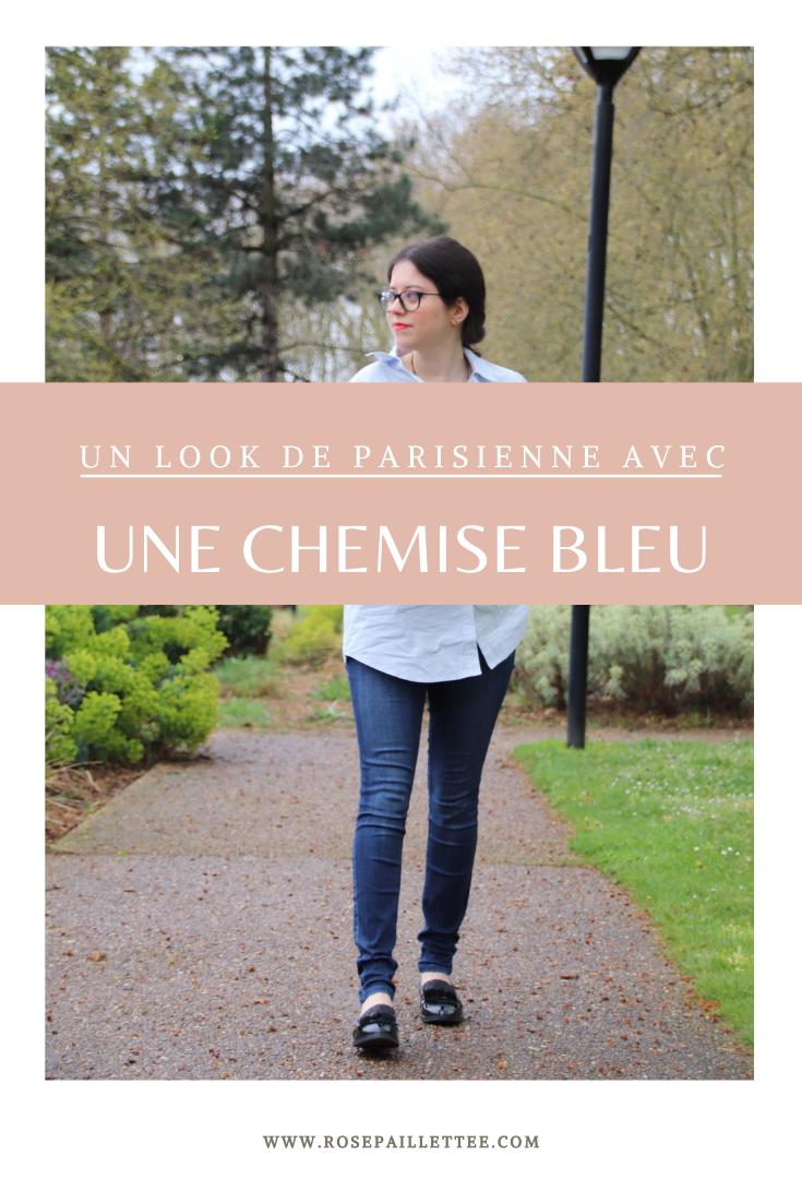 Un look de parisienne avec une chemise bleu
