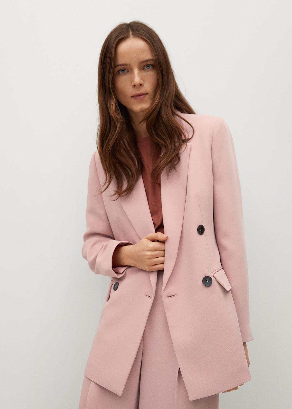Veste de costume fluide rose poudré Mango