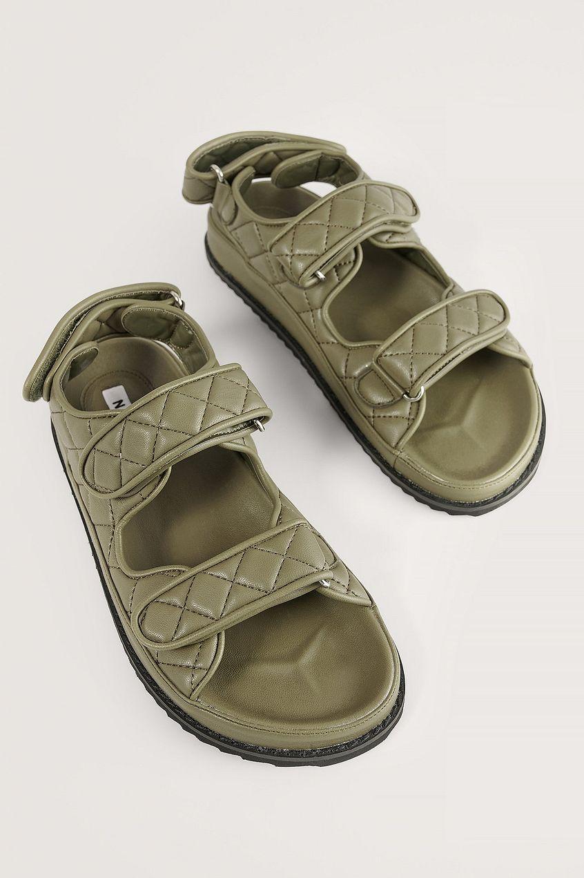 sandales matelassées vert NA-KD